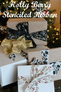 DIY Wrapping Paper for Gifts - Holly Berry Stenciled Ribbon for the holidays and Christmas - via sparklelivingblog