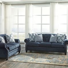 That Furniture Outlet - Minnesota's #1 Furniture Outlet. We have exceptionally low everyday prices in a very relaxed shopping atmosphere. Ashley Levernia Navy Sofa & Loveseat thatfurnitureoutlet.com #thatfurnitureoutlet  #thatfurniture  High Quality. Terrific Selection. Exceptional Prices.
