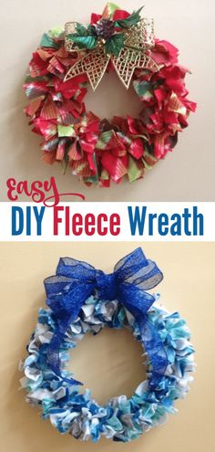 This is one of my favorite Christmas crafts! This DIY fleece wreath is a great project to make with Diy Christmas Crafts To Sell, Christmas Crafts For Kids To Make, Diy Crafts To Sell, Handmade Christmas, Holiday Crafts, Christmas Diy, Christmas Wreaths, Christmas Decorations, Fleece Crafts