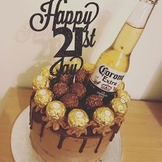 21st Birthday Cake For Guys, Birthday Drip Cake, Novelty Birthday Cakes, Novelty Cakes, Corona Cake, Corona Beer, Liquor Cake, Cake For Boyfriend, Alcohol Cake