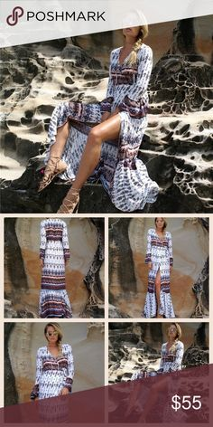 Long sleeves maxi beach dress size S to M Brand new. Stryker is similar to free people, but not from the brand. Very light weight, perfect for summer. Wrap closure. 150cm long. Free People Dresses Maxi