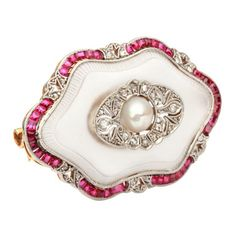 Art Deco 14k Gold, Platinum, Diamond, Natural Pearl, Rock Crystal And Ruby Brooch - Germany   ca.1920s
