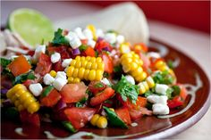 NYT Cooking: Tomato-Corn Salsa is substantial, almost like a salad, with Chicken Soft Tacos. These light, fresh tacos make a wonderful summer meal. Quesadillas, Tostadas, Nachos, Mexican Food Recipes, Dinner Recipes, Dinner Ideas, Cooking Recipes, Healthy Recipes, Free Recipes