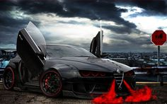 Alfa Romeo Brera ala Bull by Alfa Romeo Brera, Alfa Romeo 159, Carros Alfa Romeo, Alfa Romeo Tuning, Alfa Romeo Cars, Alfa Brera, Cool Car Backgrounds, Carros Lamborghini, Velo Design