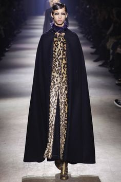 Dries Van Noten, Look #56  Paris Fashion Week | Spectacular cape paired with leopard print