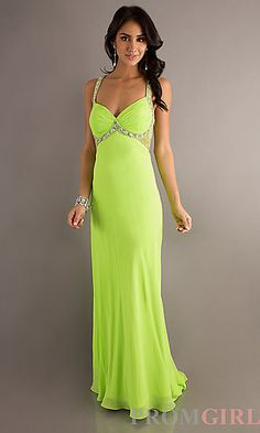 Lime Green Long Prom Dress at PromGirl.com