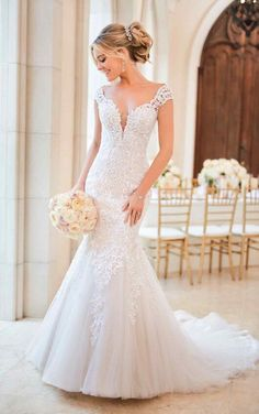08977522ff58d 6731 Mermaid Wedding Dress with Modern Keyhole Back by Stella York Fit And  Flare Wedding Dress