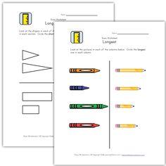 math worksheet : teach length  long and short worksheets  disco math  pinterest  : Long And Short Worksheets For Kindergarten