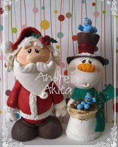 Peças natalinas para enfeitar sua mesa ! #natal #biscuit #papainoel #santa…