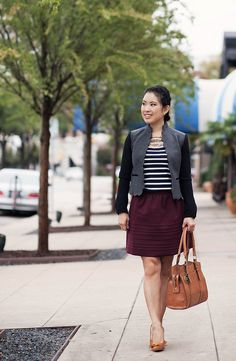 cute & little blog | mixing textures | scalloped wool jacket, striped lace shirt, burgundy full skirt, sole society elisa, emilie m jane satchel outfit #ootd, petite fashion by kileencheng, via Flickr