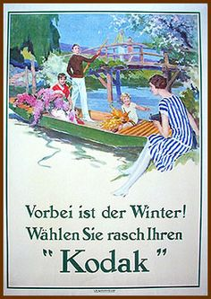 """Kodak poster printed in France with German slogan. """"Winter is Over! Hurry Up and Grab your Kodak!"""" eproduced from painting commissioned from well-known artists. Meant for hanging in camera shops."""