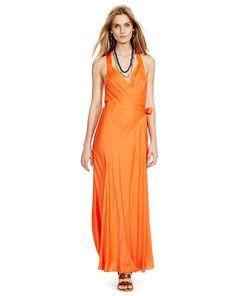 Satin Wrap Dress - Polo Ralph Lauren Maxi Dresses - RalphLauren.com
