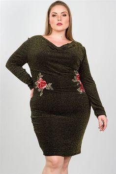 Ladies fashion plus size sexy black and gold metallic draped neck midi dress d913f9213b05