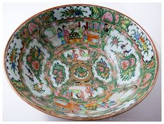 A bowl handpainted with famille rose cartouche, peonies,flowers and figures. Chinese Bowls, Serving Bowls, Vintage Items, Oriental, Porcelain, Homes, China, Antiques, Tableware