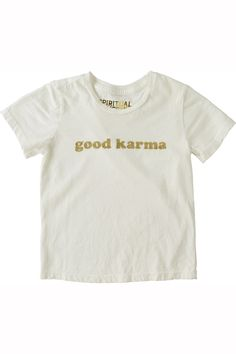 This little one has good karma! Ultra soft tri blend tee. Glitter print. Cotton / poly / rayon blend. Made in Los Angeles. HO60318007