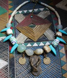 HANDMADE designer necklace with bronze African Sandal pendant.  Agate Kroba, Nage glass bead collier. statement jewelry. coins contemparary by Timbuktugallery on Etsy