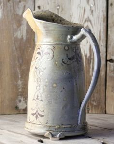 Stoneware Water Pitcher  Woodfired by mudstuffing on Etsy