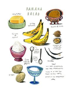 illustrated recipes: banana bread Art Print by Felicita Sala Recipe Drawing, Christmas Presents For Her, Bread Art, Natural Yogurt, Food Drawing, Banana Bread Recipes, Food Illustrations, Food Art, The Best