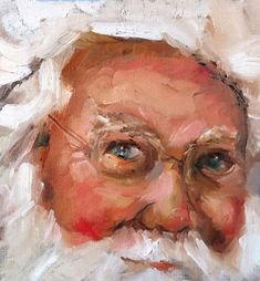 "Daily Paintworks - ""Santa Selfie"" - Original Fine Art for Sale - © Marcia Hodges"
