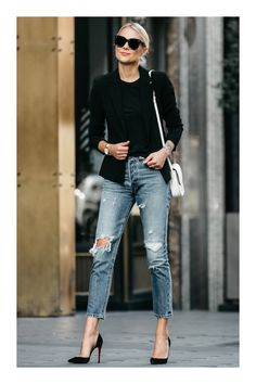 42 Most Trending Spring Outfits with Jeans 2019 - Mode - Women Fashion Mode Outfits, Jean Outfits, Chic Outfits, Spring Outfits, Trendy Outfits, Fashion Outfits, Jeans Fashion, Fashion Mode, Womens Fashion