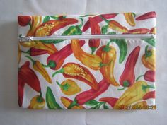 "8"" Cosmetic Bag / Make Up Bag / Pencil Pouch - Yellow, Orange & Red Peppers on White by ShawnasSpecialties on Etsy"