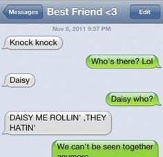 funny knock knock jokes to text