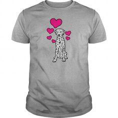 Names Dalmatian Sitting with Hearts TShirts  Mens TShirt T shirts