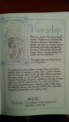 Days of the week / thursday Wicca Witchcraft, Wiccan, Witch Board, Magic Symbols, Magic Spells, Book Of Shadows, Art Journal Pages, Tarot, My Books