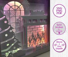 Christmas and the fire is lit and Santa is on his way - 3D Paper Cut Template Light Box SVG Digital Download Files, Shadow Box by Jumbleink on Etsy 3d Light, Cabin Christmas, Paper Light, Scan And Cut, Shadow Box Frames, Color Effect, 3d Paper, Box Design, Nightmare Before Christmas