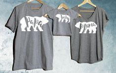 Papa Bear + Mama Bear + Baby Bear T-shirt Set of 3  Fun family bear t-shirts for a proud papa, mama and his little bear cubs. A really special gift