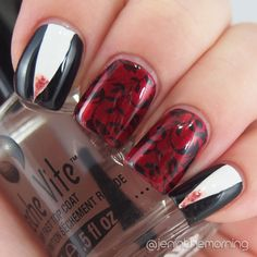 Gothic Vampire manicure for Halloween  #nail #nails #manicure #fall #stamping #halloween #fangs #vampire #gothic