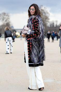Christina Pitanguy w/ furry coat, white pants & Fendi baguette #Paris #StreetStyle