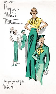 Vogue 3739 1930s evening ensemble blouse jacket skirt pattern