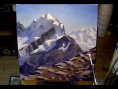 How To Paint Mountains - Real Time Free Acrylic Painting Demo Oil Painting For Beginners, Time Painting, Acrylic Painting Techniques, Painting Videos, Oil Painting Abstract, Painting & Drawing, Painting Clouds, Online Art Classes, Speed Art