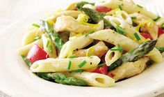 Pene with Asparagus, Red Peppers, and Grilled Chicken in Alfredo Sauce