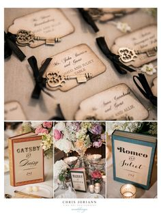 "Vintage style wedding ""somewhere in time"" using old books and famous couples as ""table numbers"""