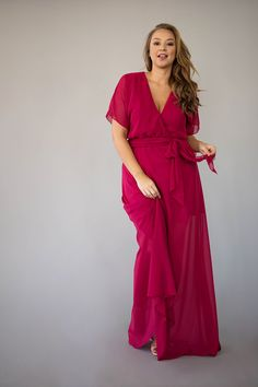 This ultra chic wrap dress combines style and comfort, allowing you to dance through the night. Berry Bridesmaid Dresses, Affordable Bridesmaid Dresses, Wrap Dress, Chic, Lady, Collection, Tops, Style, Fashion