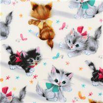 simpatico tessuto Michael Miller vintage gattini