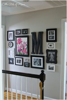 Little Bits of Home: Hallway Gallery Wall Love how they framed light switch and thermostat. Little Bits of Home: Hallway Gallery Wall Love how they framed light switch and thermostat. Diy Casa, Hallway Decorating, Hallway Wall Decor, Interior Decorating, Decorating Kitchen, Hallway Ideas, Decorating A Large Wall In Living Room, Gray Hallway, Staircase Wall Decor