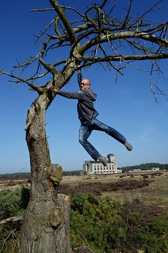 Me flying like Tarzan! This is the surreal place of Radio Kootwijk in the Netherlands.