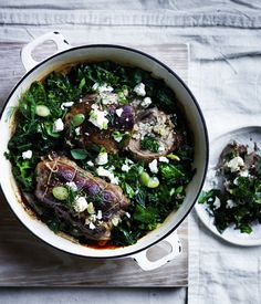 The classic pot roast lamb gets a contemporary kick with kale, feta and dill.