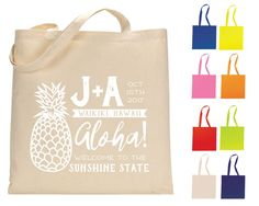 New to SipHipHooray on Etsy: Hawaii Tote Bag Destination Tote Bags Wedding Tote Bags Wedding Welcome Bags Wedding Favor Custom Cotton Totes Monogrammed Bags (198.00 USD)