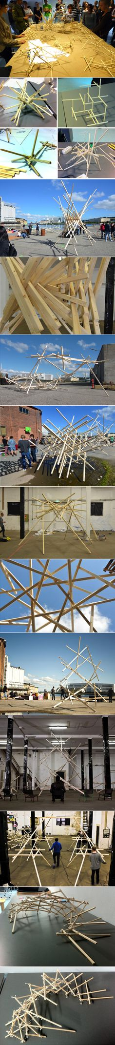 http://www.albertopugnale.com/eng_research.html Workshop on structural reciprocity which took place in Aalborg, during the fall semester 2011, Master of Science in Architectural design, coordinators Alberto Pugnale and Dario Parigi.