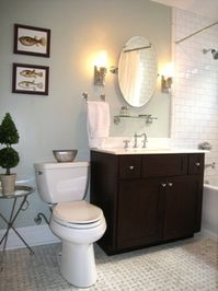 downstairs bathroom - paint over wood panels with white - keep walls soft grey