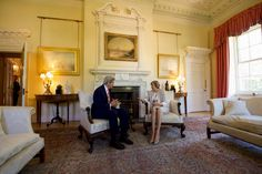Secretary Kerry Sits With British Prime Minister May in the White Room No. 10 Downing Street in London British Prime Ministers, Number 10, Lounge Design, Theresa May, White Rooms, Secretary, London, Interior Design, House