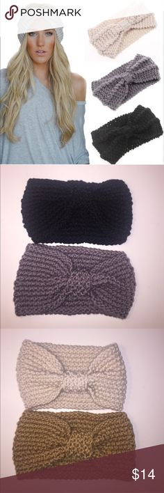 ⭐️SALE⭐️ Knot Front Ear Warmer Headband This winter ear warmer headband (turban) is adorned with a bow. Wear it for warmth or for style. I have the dark grey, black, cream, and camel colors available. Chic Boutique Accessories