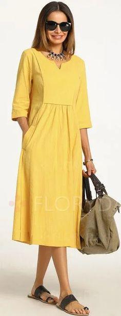 Solid Sleeves Midi X-line Dress – Floryday Latest fashion trends in women's Dresses. Shop online for fashionable ladies' Dresses at Floryday – your favourite high street store. Linen Dresses, Cotton Dresses, Floryday Dresses, Chiffon Dresses, Smocked Dresses, Sweater Dresses, Bridesmaid Dresses, Formal Dresses, Dresses For Sale