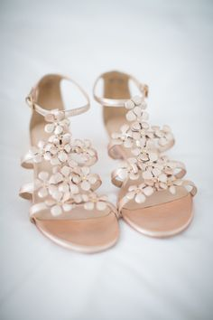 Rose gold flower detailed sandals: http://www.stylemepretty.com/2015/06/11/20-chic-shoes-that-wont-sink-in-the-grass/
