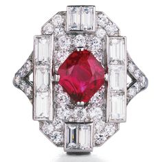 Ruby, Diamond, and Platinum Art Deco Ring  Ruby (2.05 carats), diamond, and platinum ring.  English, circa 1920.