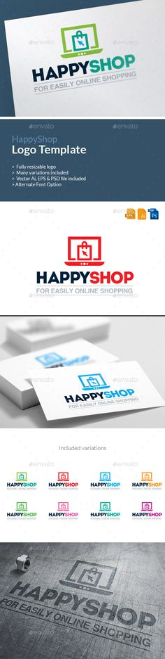 E-Commerce Logo Happy Shop Logo   PSD Template • Download ↓ https://graphicriver.net/item/ecommerce-logo-happy-shop-logo-template/13933858?ref=pxcr